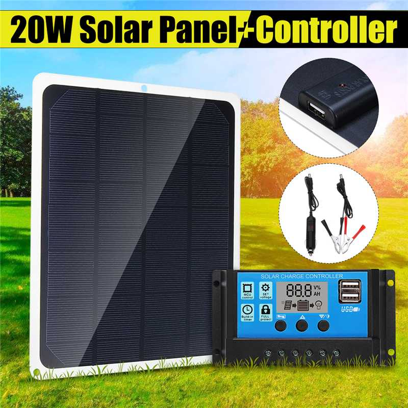 12V 20W USB Solar Panel With Car Charger Crocodile Clip + 10/20/30/40/50A USB Solar Charger Controller For Outdoor Camping