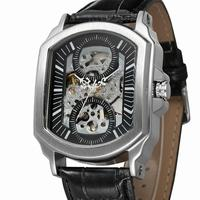 Leather Automatic Mechanical Watches Men Brand Luxury Steel Rose Gold Case Skeleton Men Watch Montre Homme with Gift Box