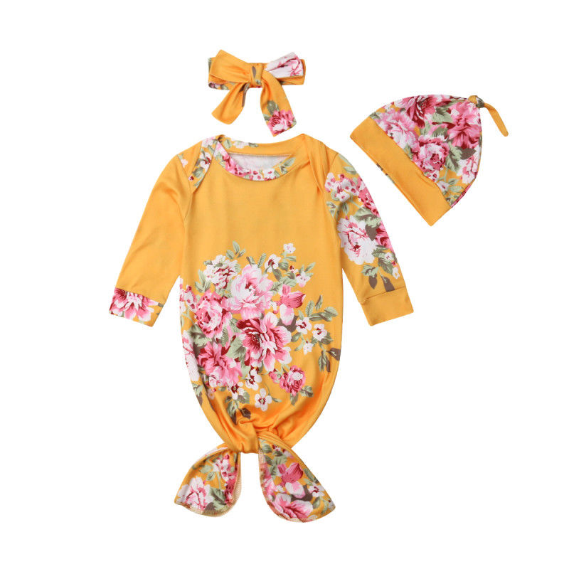 Floral Newborn Baby Boy Girl Muslin Swaddle Baby Soft Blanket Flower Wrap Sleepwear Romper Hat Headband 3PCS Set