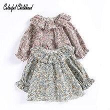 Милая рубашка с кружевным воротником и оборками для девочек; хлопковые топы принцессы с длинными рукавами и цветочным рисунком; Детские рубашки; одежда для маленьких девочек