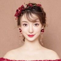 New Burgundy Fabric Flower Headband Hair Accessories Bridal Wedding Headdress Fashion Costume Performance Headpiece Handmade