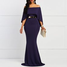 Batwing Sleeve Bodycon Slash Neck Women Casual Navy Elegant Trumpet Evening Party Slim Vintage Maxi Dress Without Belt