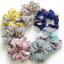 Chiffon Flowers Elastic Hair Bands Ponytail Scrunchies Soft Rope Ties Floral Girls Headwear Elegant New