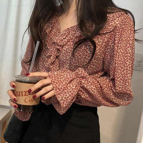 2019 lindo Top con volantes blusas ropa estilo coreano manga cuello en V Rosa lunares dulce chicas temperamento camiseta blusa 492