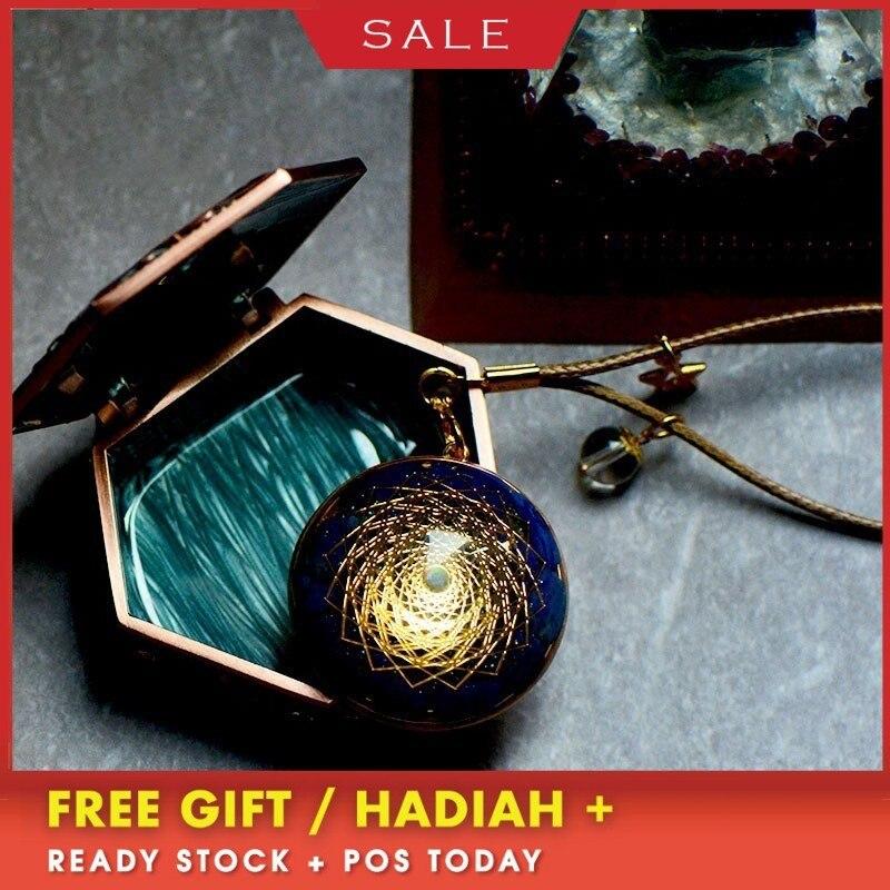 AURAREIKI Orgonite Pendant Handmade Custom Lapis Natural Crystal Energy Converter Reiki Charm Pendant Jewelry For Women