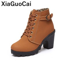 купить 2019 Women Shoes Spring Autumn Woman Ankle Boots High Heels Ladies Footwear Lace Up Platform Pumps Plus Size Fashion Martin Bota дешево
