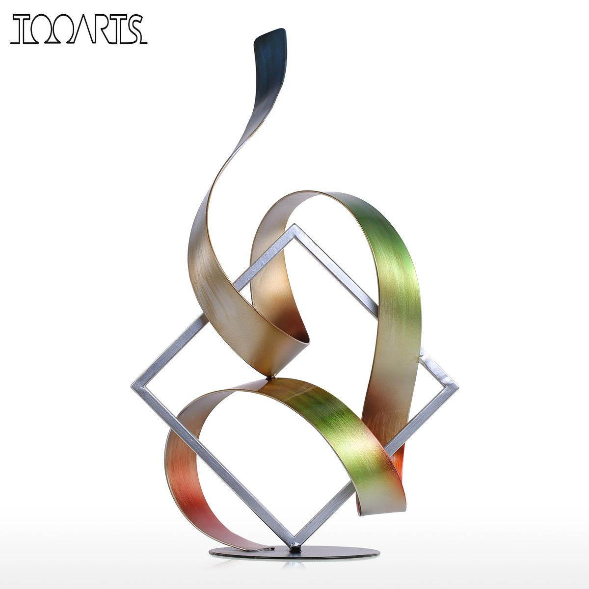 Tooarts Square and Ribbon Modern Abstract Sculpture home decoration accessories modern Figurine New Year Gift Christmas