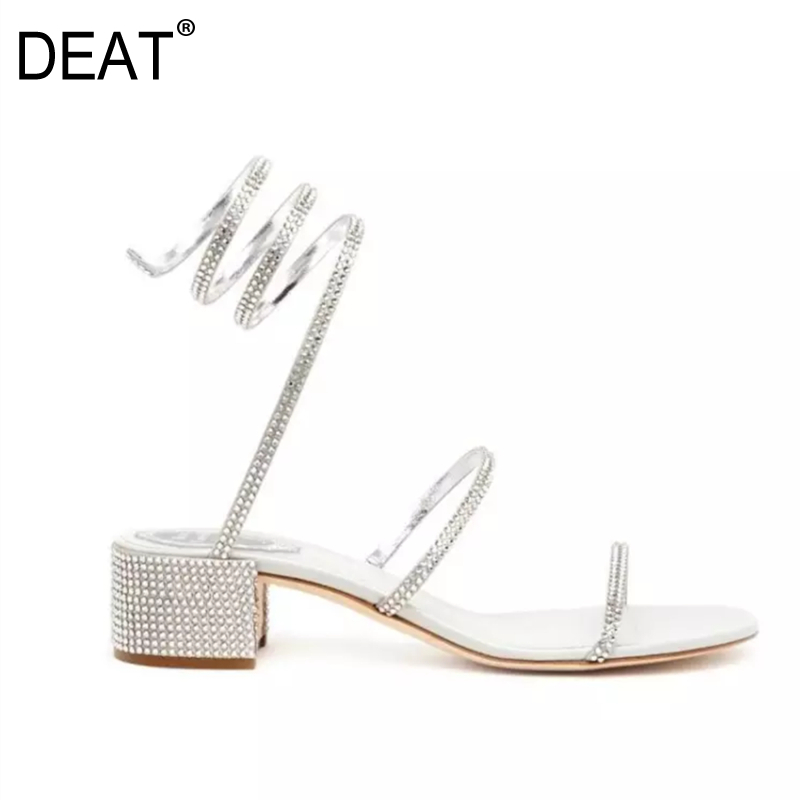 DEAT 2019 New Spring Summer Round Toe Pu Leather Crystal Narrow Band Simple High Heels