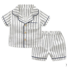 CANIS Новинка весны пижамный комплект для маленьких мальчиков, детские пижамы, комплект пижам хлопковые пижамы для маленьких мальчиков, для мальчиков, для девочек, в полоску
