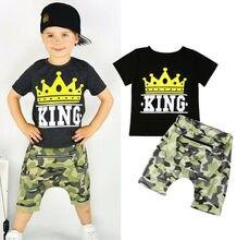Fashion Summer Toddler Boys Clothes Sets Letter KING Print Tops T-shirt Camo Pants 2pcs Kids Children Outfits Set Costumes
