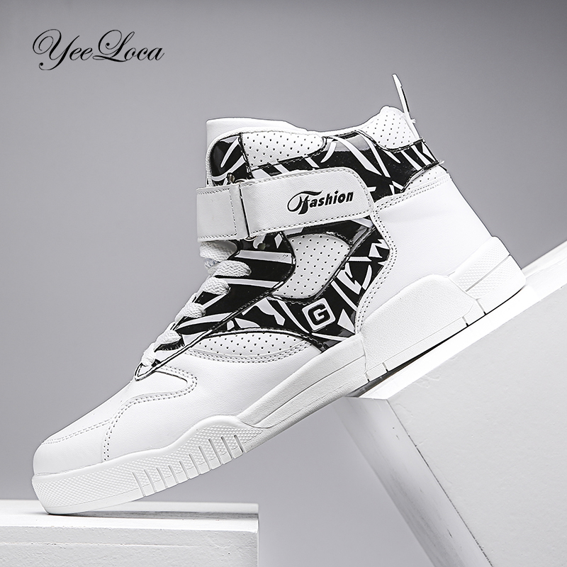New 2019 High Top Sneakers Men Casual Shoes Breathable White Shoes Black Leather Trainer Men Chaussure Homme Winter Autumn