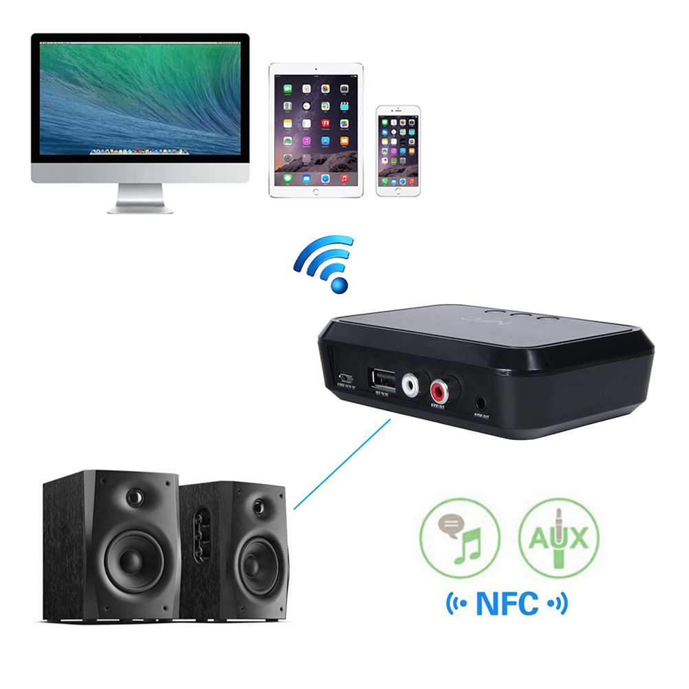 NFC desktop Bluetooth music receiver 4 1 Bluetooth adapter U disk read Bluetooth speaker in Wireless Adapter from Consumer Electronics