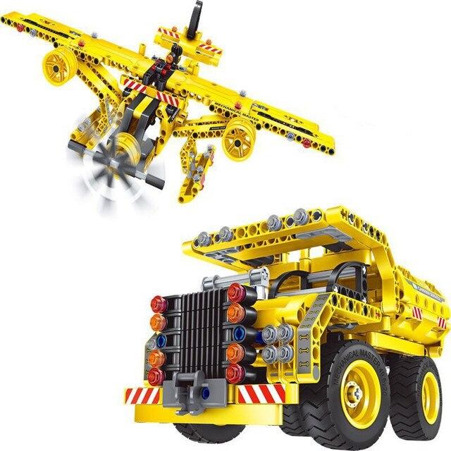 361 Komputer Blok 2 In 1 Dump Truk dan Pesawat Deformasi Blok Truk DIY Dirakit Mainan Pendidikan untuk Anak-anak Belajar mainan