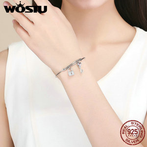 Image 5 - WOSTU NEW 100% 925 Sterling Silver Key & Lock Bracelets For Women Bangles Wedding Engagement Silver 925 Jewelry Love Gift CQB127