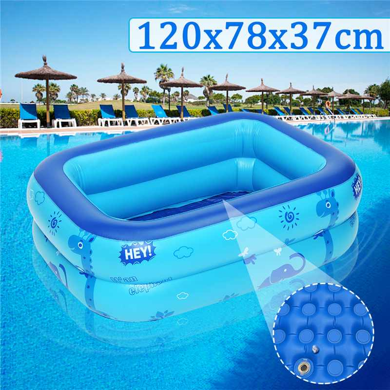 Inflatable Pool Paddling-Pool Kids Children's Square 120x78x37cm Heat-Preservation Large-Size