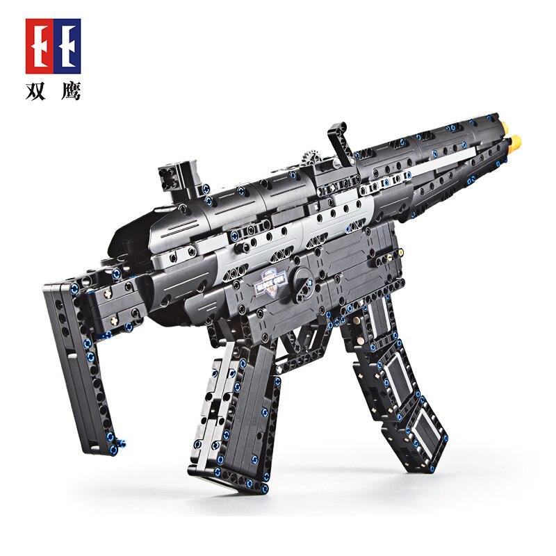 DIY 617PCS Block Gun Toys SWAT Police Submachine Gun Weapons Model Assembled Bricks Blocks Launch Rubber band in Blocks from Toys Hobbies