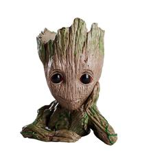 Flower Pot Baby Groot Flowerpot Cute Toy Pen Holder PVC Hero Model Tree Man Garden Plant Dropshipping