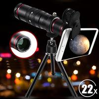 Outdoor 22X Zoom Cell Phone Telescope Kit 3 3500 meters Telephoto Camera Lens With Tripod Most Cellphones