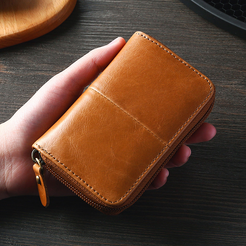 Cow Leather Business Card Holder Men Zipper Blue/Brown/Coffee Credit Card Wallet Male 2019 Retro Bank/ID/Credit Card Holder