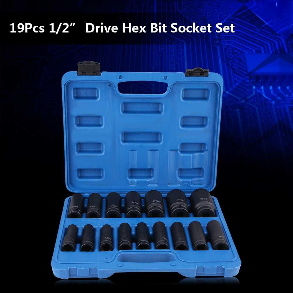 """16 pcs 1/2 """"인치 드라이브 공기 16 진수 비트 소켓 세트 수리 도구 키트 10mm-32mm 새로운"""