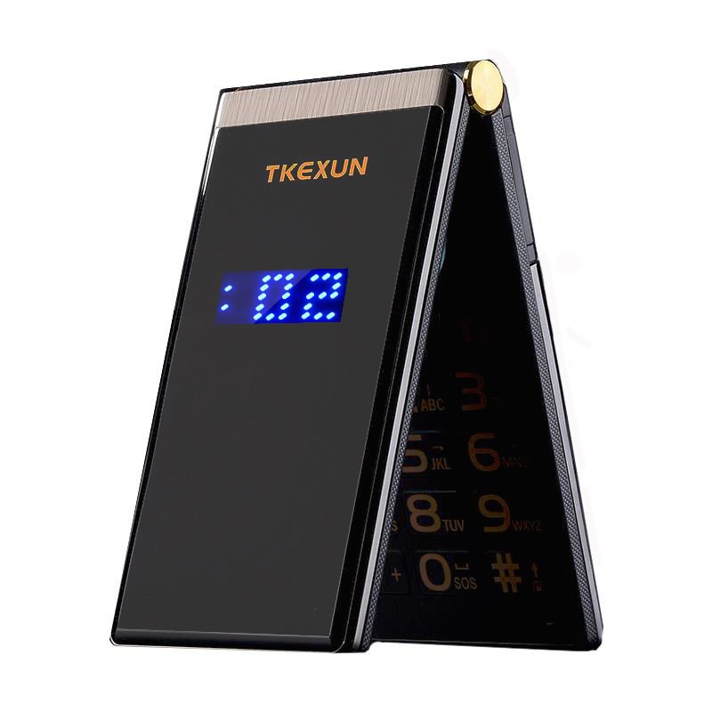 "TKEXUN Flip Touch HandwritingScreen 3.0"" Display Telephone Speed DialSOS Metal Body Senior Not Smart Mobile Cell Phone"
