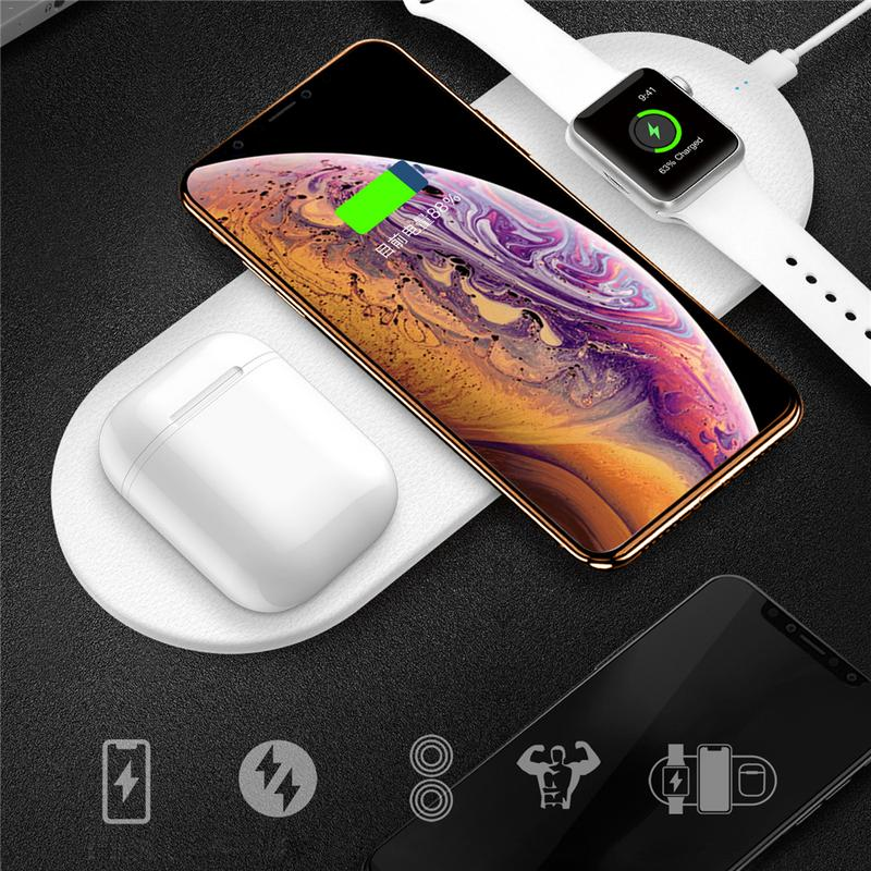 Car Phone Adapter For Funxim X9 Three In One Desktop Dual Fast Charge 10W 7.5W for Samsung Apple Wireless Charger Mobile Phone