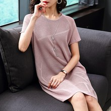 2019 Summer Women Round Neck Knitting Dress Fashion Solid Large Size Knee-Length Short Sleeve Casual