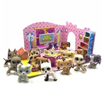 Rare great dane spaniel pet shop brinquedos collie cão dachshund animal real coleção com espuma montado casa pet acessórios