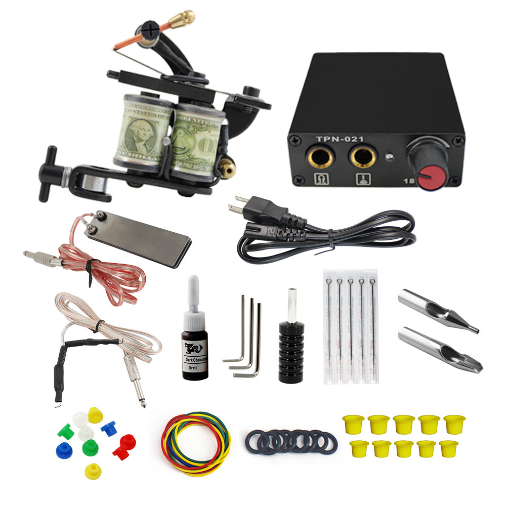 Complete Tattoo Machine Kit Set 2 Coils Guns 5 Colors Black Pigment Sets Power Tattoo Beginner Grips Kits Permanent MakeupComplete Tattoo Machine Kit Set 2 Coils Guns 5 Colors Black Pigment Sets Power Tattoo Beginner Grips Kits Permanent Makeup