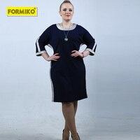 Formiko Big Size Women 5XL 6XL Dress Contrast Panel T Shirt Dress Plus Size O Neck Bat sleeve Casual Loose Dress for office lady