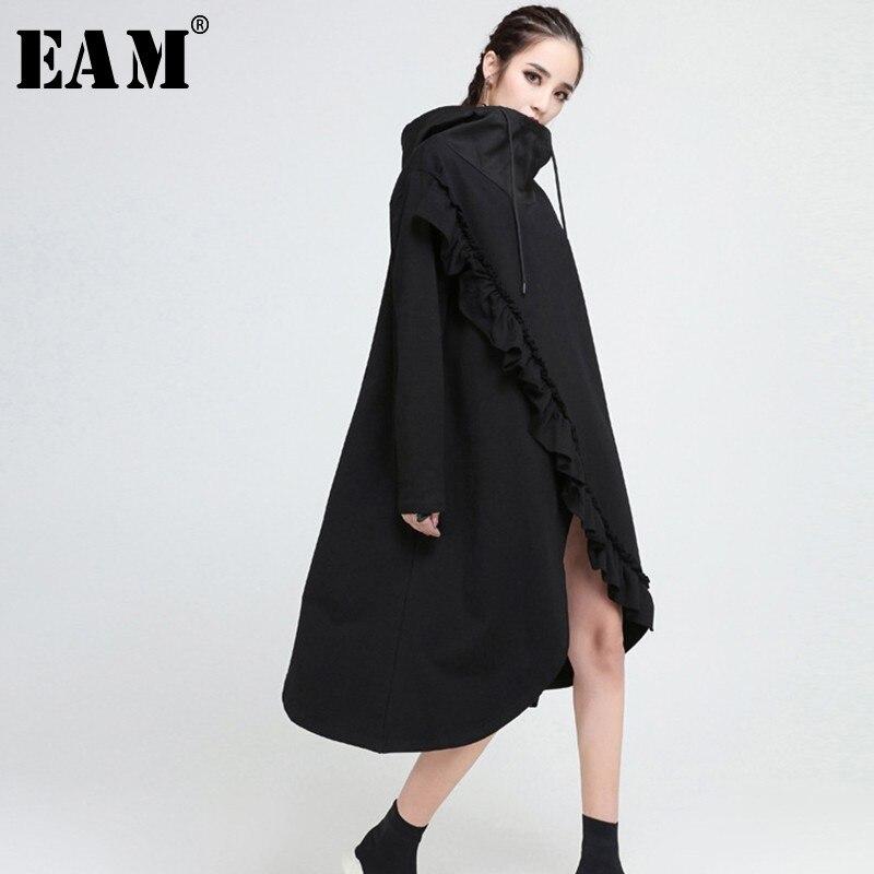[EAM] 2019 nouveau automne hiver à capuche manches longues noir volants Split Joint irrégulière ourlet grande taille robe femmes mode marée JO008
