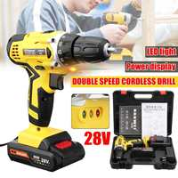 28V Electric Cordless Drill Driver Screwdriver Li Ion Battery LED Light Battery 1/2 Inch 2 Speed