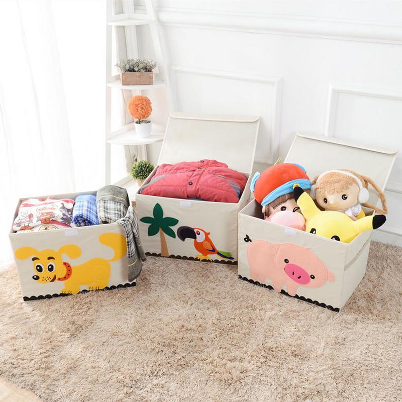 3D Embroider Cartoon Animal Folding Large Storage Box For Kid Toys Sorting Organizer Box Clothes Book Home Storage Bin Organizer