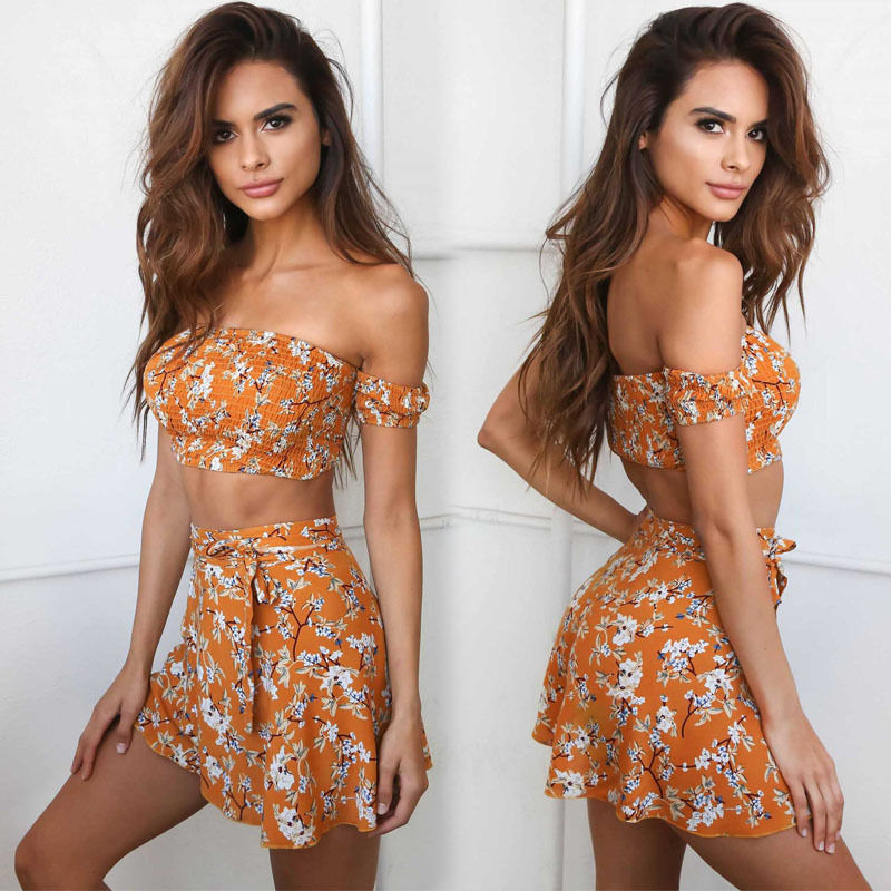 2Pcs Womens Summer <font><b>Sexy</b></font> <font><b>Bandage</b></font> <font><b>Bodycon</b></font> Floral <font><b>Skirt</b></font> Off Shoulder Crop Tops Evening Party Club Short Mini <font><b>Skirt</b></font> Set image