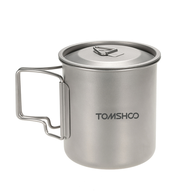 TOMSHOO Water Cup with Lid 300ml/420ml Titanium Water Cup Picnic Camping Mug with Lid Outdoor Tableware Camping Cup Mug Titanium
