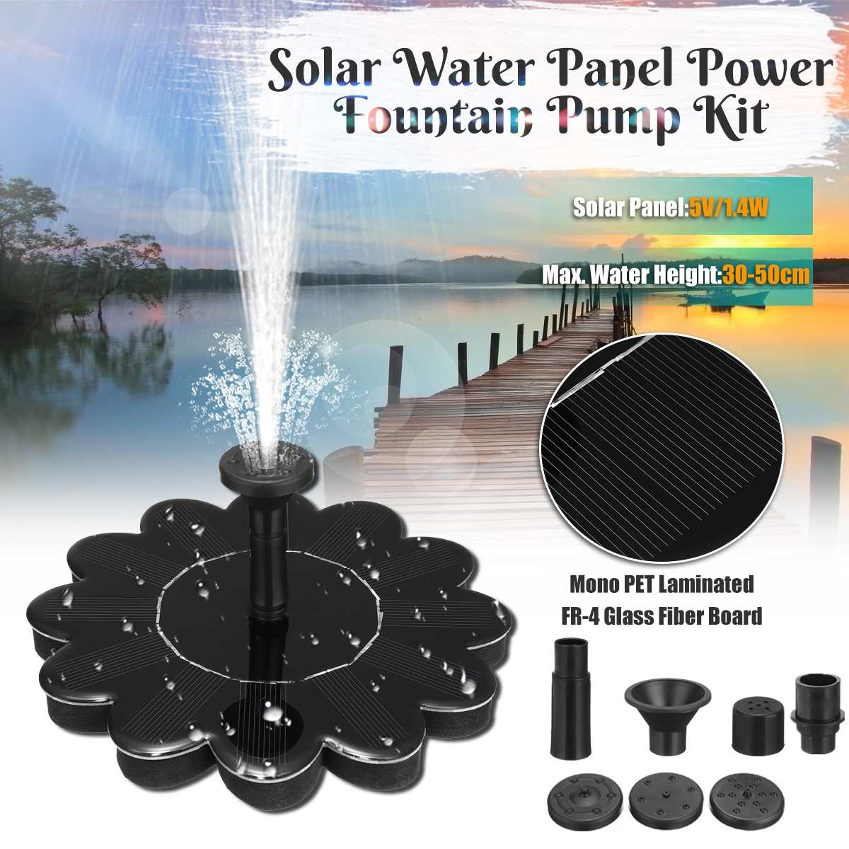 Brushless Pump Submersible Solar Water Pump 5V 1.4W Mono Solar Panel Outdoor Mini Solar Water Fountain Pumps For GardenBrushless Pump Submersible Solar Water Pump 5V 1.4W Mono Solar Panel Outdoor Mini Solar Water Fountain Pumps For Garden