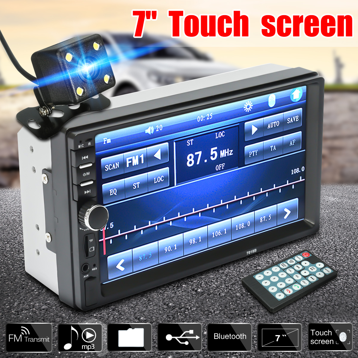 7 HD Bluetooth Touch Screen 2 Din Car Stereo Radio FM AUX USB SD MP5 Player + Rear View Camera + Remote Controller