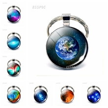 Mars Earth Charming Galaxy Keychain Nebula Universe Outer Space Planets Glass Cabochon Key Chain Rings Pendant Women Men Gift