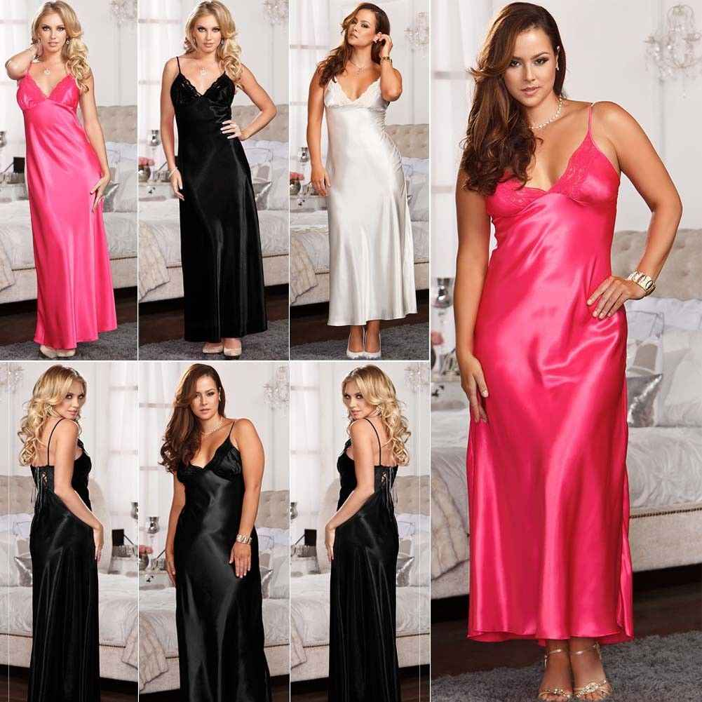 Sexy Nightwear V-neck Long Maxi Nightdress Nightwear Women Silk Satin  Homewear Nightdress Long Sleepwears 837323ad5
