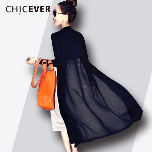 CHICEVER 2019 Spring Patchwork Chiffon Long Women's Shirt Blouses Knitted Loose Big Size Sunscreen Shirts Clothes Fashion Korean