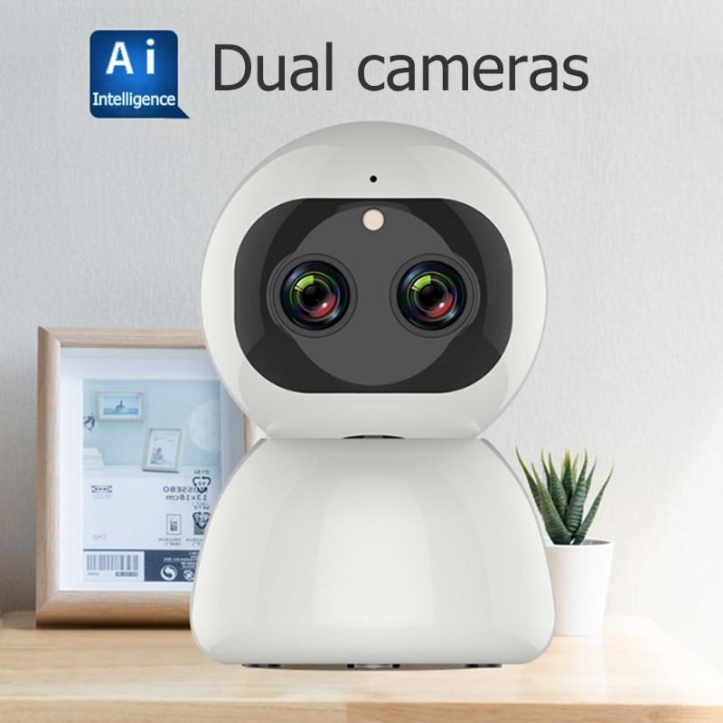 Sans fil 1080 P WiFi IP double objectif Zoom caméra CCTV sécurité PTZ caméscope ménage bébé moniteur Webcam