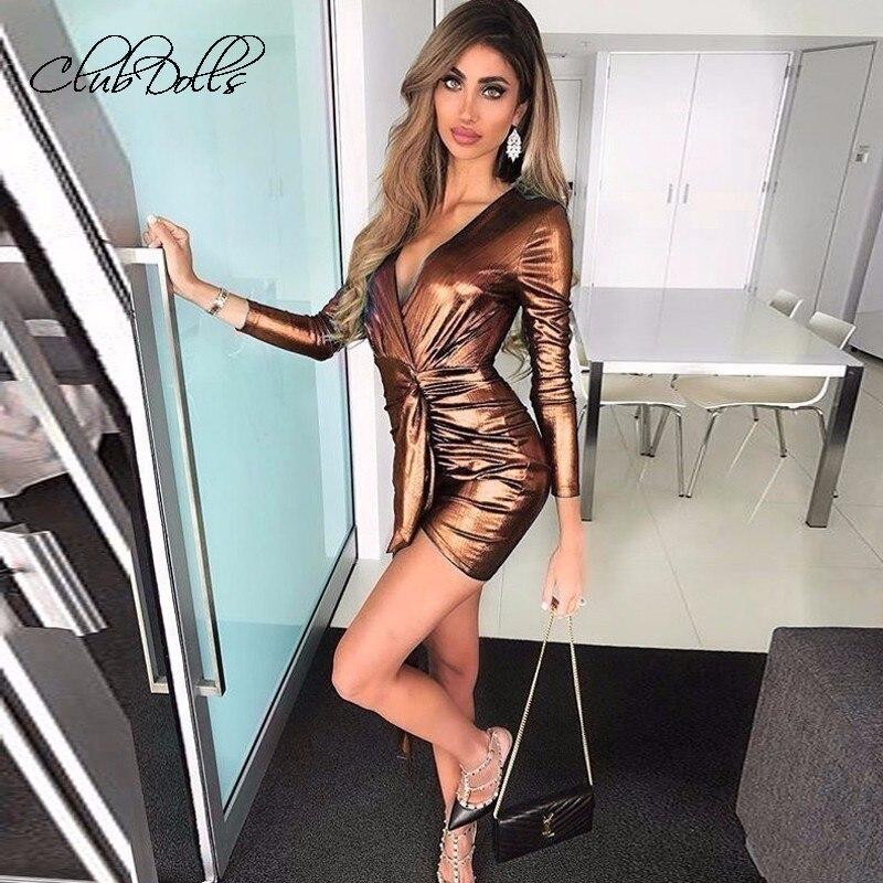 Metallic Shiny Bright   Cocktail     Dress   Long Sleeve Mini   Dress   Party Club Long Drop Belt New Elegant Summer Women Vestidos Coctel