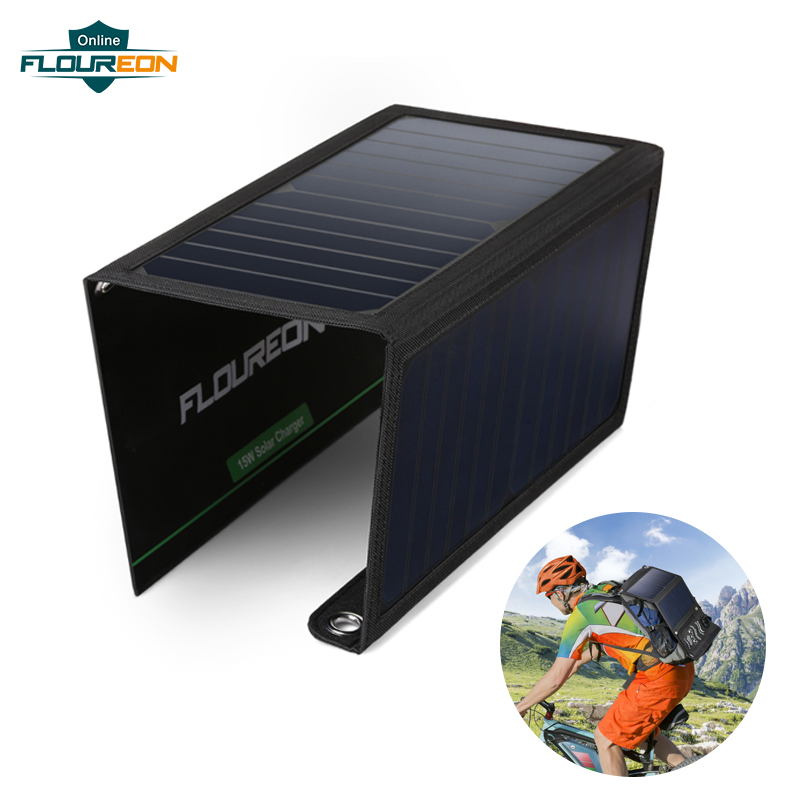 FLOUREON 15W Solar Panel Cells Charger with 2 USB Phone Charging DC 5V/2.4A for Outdoors Phone Sun Energy External Battery Pack