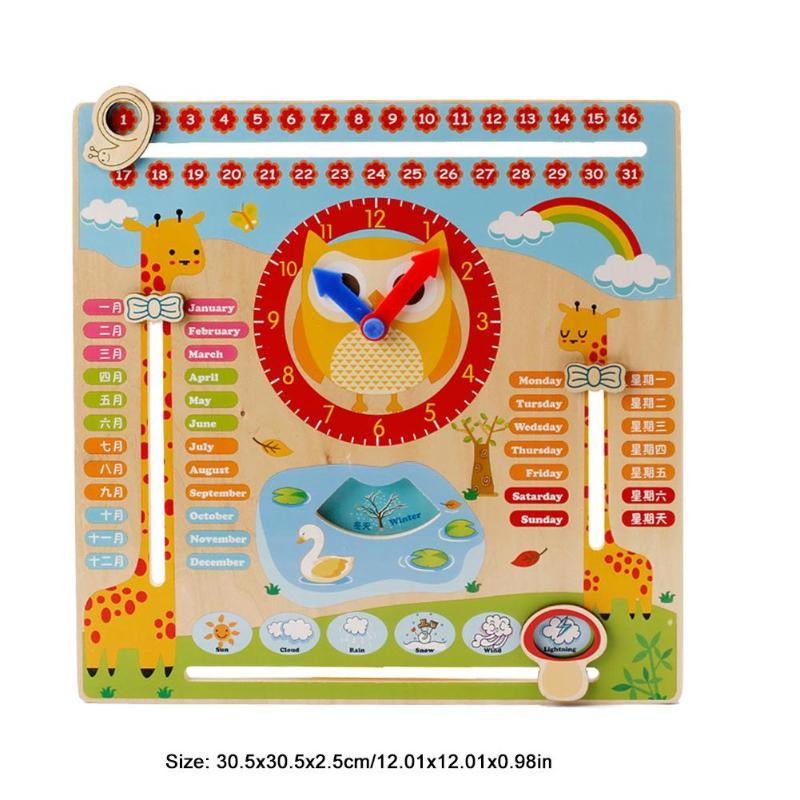 Wooden Calendar Clock Puzzle Toys Kids Calender Weather Season Clock Board Multifunction Cartoon Pattern Week Dates Display Toy