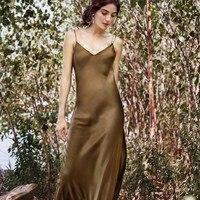 98ca7329414 Summer Women Satin Slip Dress Spaghetti Strap Sexy Backless Maxi Dress Fake  Silk Long Dress