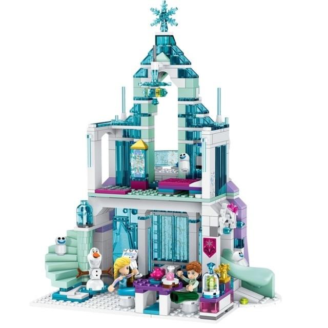 164-711pcs LegoINGly Princess figures Building Blocks Snow Castle White Queen Dream Fantasy Elsa Ice Castle Bricks Anna Mermaid