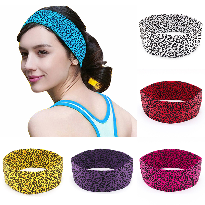 Sweat absorption  Leopard headband  Headband  Cotton  Fashion  Sports  Fitness  Hair band  Elastic 1 piece  Female  Yoga