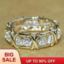 19c448d7777e Joyería de moda de la eternidad 3mm gema 5A de piedra de circón 10KT oro  amarillo lleno de mujeres boda banda anillo de joyería .