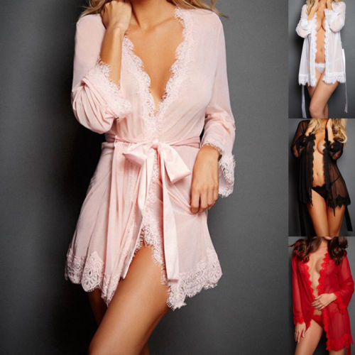 Sexy Lingerie Women Silk Lace Robe Dress See Through  Transparent Robe Bathrobes Babydoll Nightdress Sleepwear