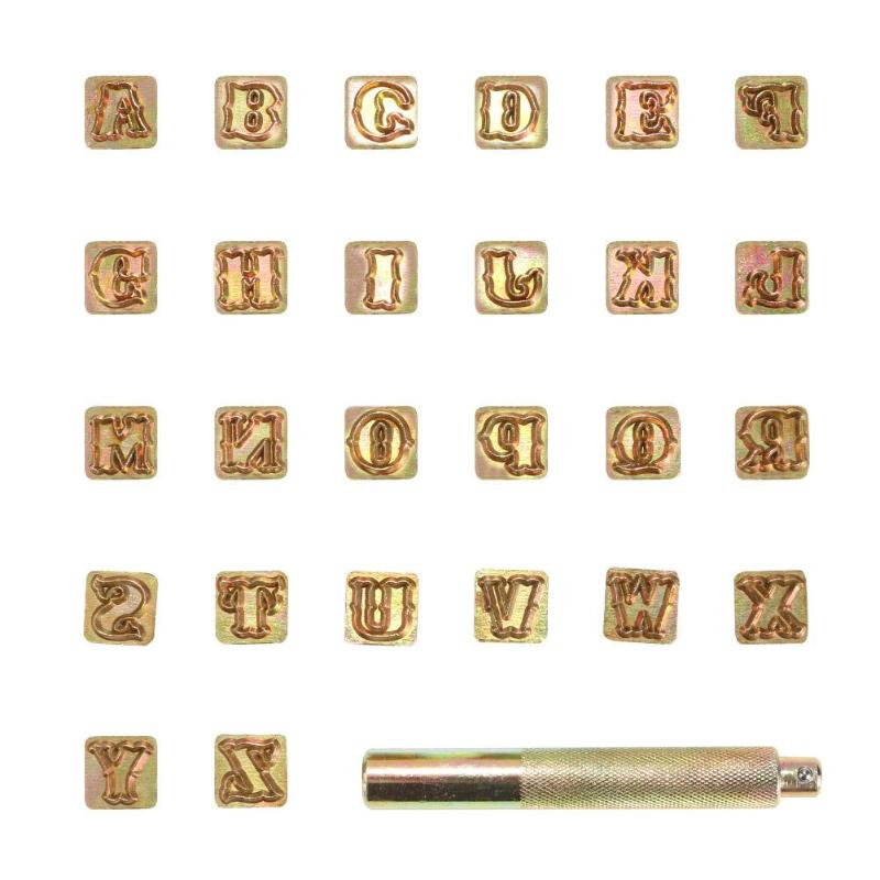 26Pcs Brass Alphabet Letters Fixture Leather Stamp Carving Tool Branding Iron